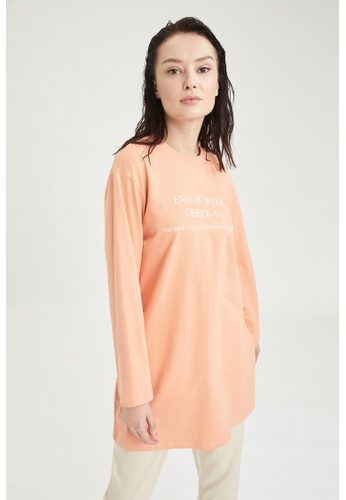 DeFacto pink Long Sleeve Round Neck Cotton Tunic 48651AA416E8F0GS_1