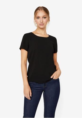 Vero Moda black Sasha Short Sleeve Zip Top DE9D5AAD22325BGS_1