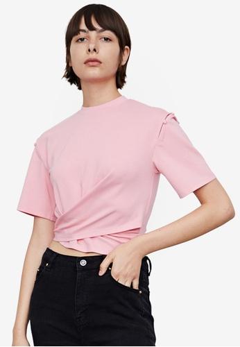URBAN REVIVO red Slit Shoulder T-Shirt E9235AA7FA4F82GS_1