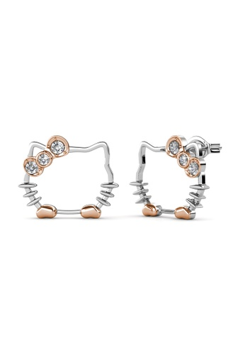 Her Jewellery silver Kitten Earrings -  Made with premium grade crystals from Austria HE210AC0H96ASG_1