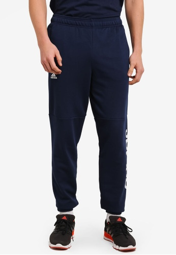 adidas blue and navy adidas performance ess lin pants AD372AA0S83SMY_1