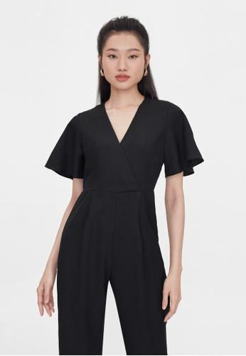 Pomelo black Butterfly Sleeves V Neck Jumpsuit - Black 36FBFAAD61DF41GS_1