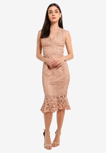 Lipsy beige Vip Nude Lace Ivory Contrast Flippy Hem Dress 63BA7AA1AE47EFGS_1
