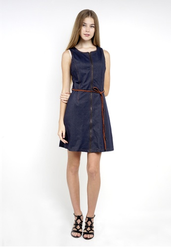 f8758b52207 nicole blue Round Neckline Sleeveless Mini Dress With Braided Belt And  Metal Zip Front Fastening 5A495AA80BCABBGS_1