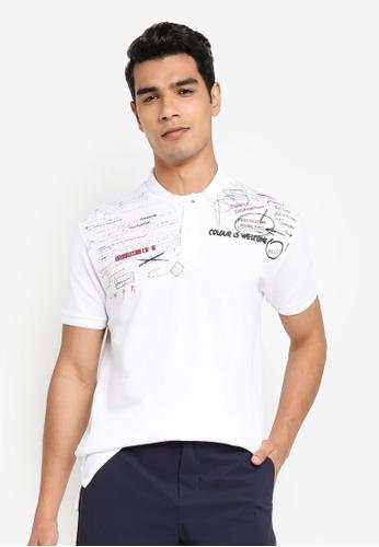 Desigual white Teo Doodle Printed Polo Shirt BB8D8AA340573FGS_1
