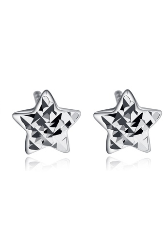 MaBelle silver 14K White Gold Faceted Star Stud Earrings MA584AC09IHEHK_1