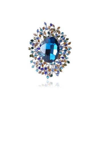 Glamorousky blue Fashion Elegant Geometric Pattern Blue Cubic Zirconia Brooch 3D908AC0FFF609GS_1