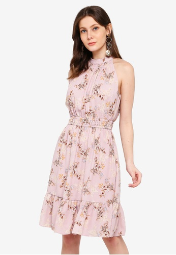 FORCAST pink Willa Halter Neck Dress 88F46AA728A848GS_1