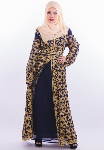 Persian blue and gold Algeria Abaya - Blue & Gold 3FFFAAA5AFEE10GS_1
