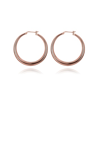 Glamorousky silver Simple Plated Rose Gold Circle Earrings 81E7EAC6FD9F19GS_1