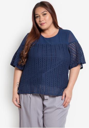 Divina blue Plus Size Special Fabric Blouse DI567AA0K8BTPH_1