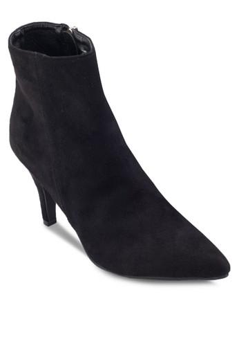 麂皮esprit童裝門市側拉鍊細跟高跟短靴, 女鞋, 鞋