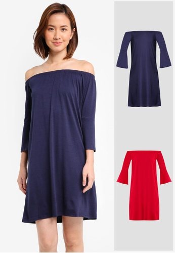 b606e7c0e64dd ZALORA BASICS red and navy 2 Pack Essential Loose Off Shoulder Dress With Flared  Sleeve ZA274AA0JFOXSG 1