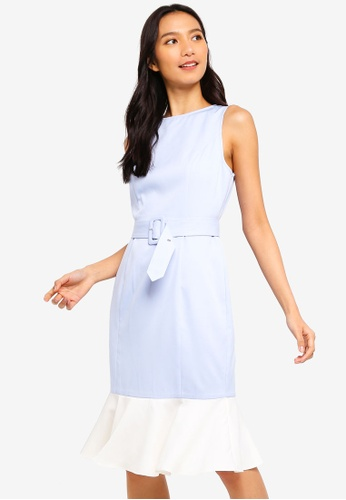 ZALORA white and blue Mermaid Hem Sheath Dress With Belt E6F29AA726B947GS_1