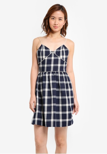 ZALORA navy Checkered Mini Dress 20FF5AAB0858A3GS_1
