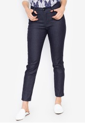 D Fashion Engineer navy Wear-to-Work Chambray Stretch Pants 817AAAA9AE95DDGS_1
