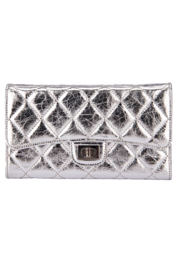 Chanel silver CHANEL 2.55 REISSUE METALLIC SILVER TRI-FOLD WALLET F22B9AC3EE5248GS_1