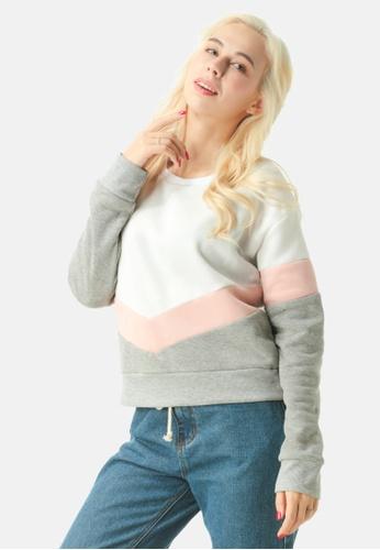 London Rag white Color Block Sweatshirt 58771AA7368A08GS_1