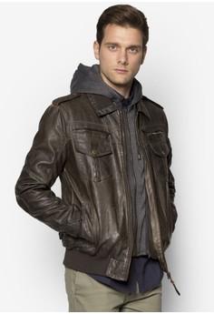 Aaron 拉鍊口袋仿皮外套