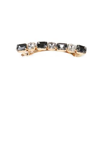 Glamorousky black Fashion Simple Plated Gold Geometric Black Cubic Zirconia Hair Clip C8FE3AC02995EAGS_1
