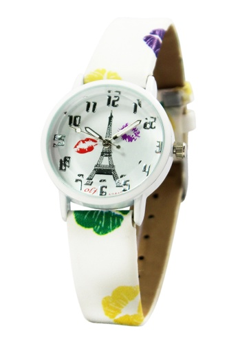 World of Watches white and multi and silver OLJ Kiss Eiffel  Leather Strap Watch A2449 WO566AC97MVUPH_1