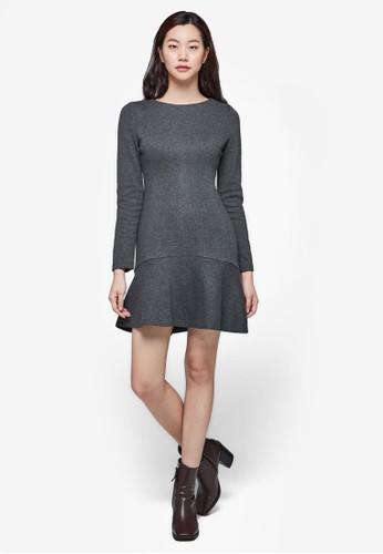 簡約起褶長袖連身裙, 服飾, 洋esprit門市裝