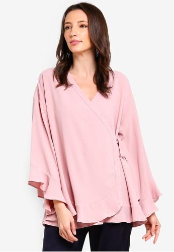 Zalia pink Frill Hem Wrap Cardigan 638D7AA1E55626GS_1