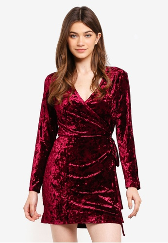 Something Borrowed red Velvet Wrap Dress 42BBAAA83AD293GS_1