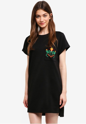 Something Borrowed black Embroidered Pocket Tee Dress EB7E2AA5757694GS_1