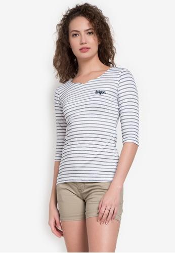 Bobson white 3/4 Stripes Cotton T-Shirt In White BO748AA0KAS7PH_1