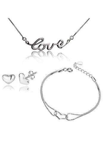 YOUNIQ silver YOUNIQ L.O.V.E 925 Sterling  Necklace, Earrings & Bracelet Set (Silver) YO999AC82LKBMY_1