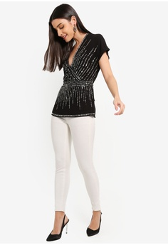 0803a465bb4b 46% OFF Lipsy Sequin Wrap Blouse S$ 114.90 NOW S$ 61.90 Sizes 6 8
