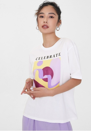 Pomelo white Sustainable Celebrate Abstract Print Graphic Tee - White F744DAABA411E6GS_1