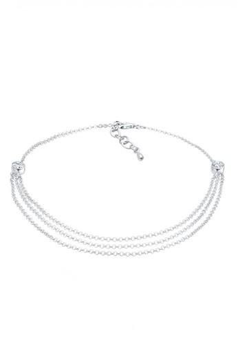 Elli Germany silver Perhiasan Wanita Perak Asli - Silver Gelang Kaki Layer Crystal EL948AC0V8RFID_1