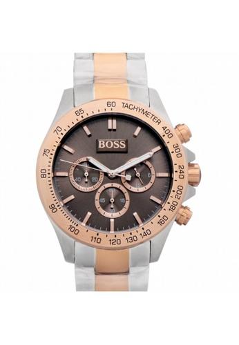 Hugo Boss [NEW] Hugo Boss Hugo Boss Mens Ikon Two-Tone Rose Gold Silver Watch 44MM HB1513339 5FE68ACD16AD94GS_1