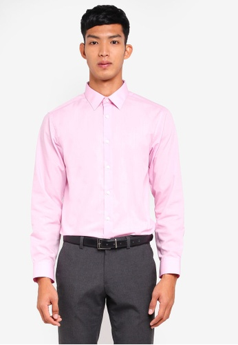 Burton Menswear London 粉紅色 Pink Tailored Fit Easy Iron Shirt 32D08AA7A16118GS_1