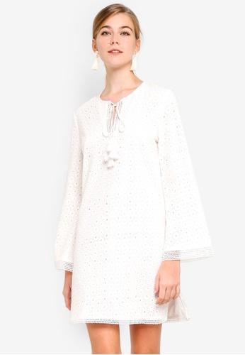 Dressing Paula white Tasseled Broderie Anglaise Dress AC16EAA336ACAEGS 1 3141b36f0