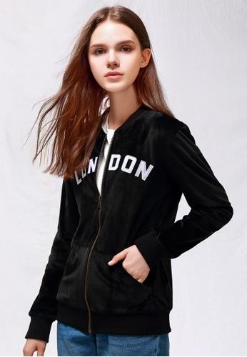 London Rag black Black Velvet Zipper Jacket 3B1EBAAD7ED552GS_1