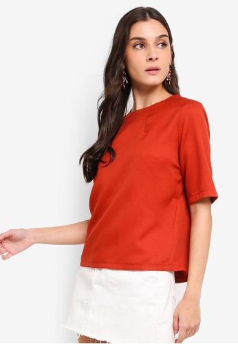 ZALORA 橘色 圓領上衣 4F26FAA5738DF4GS_1