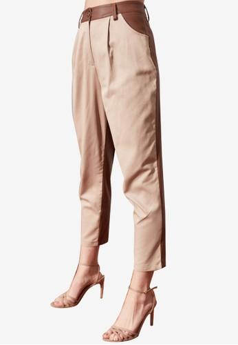 Trendyol beige Straight Cut Faux Leather Panel Pants 019CAAA7793182GS_1