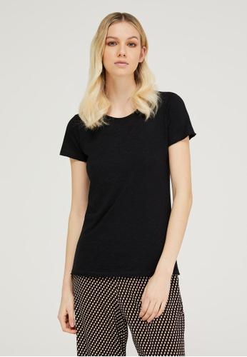 Sisley black Round Neck T-shirt 06F05AA4CDFAFDGS_1