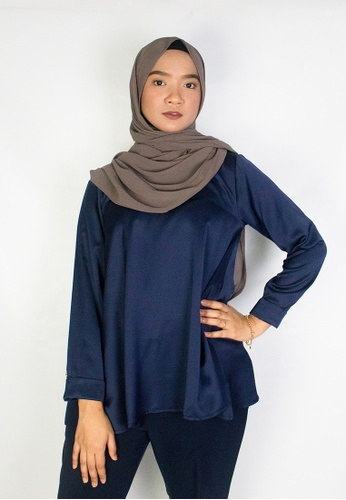 Zaryluq blue and navy Flare Blouse in Celestial DC850AAE310668GS_1