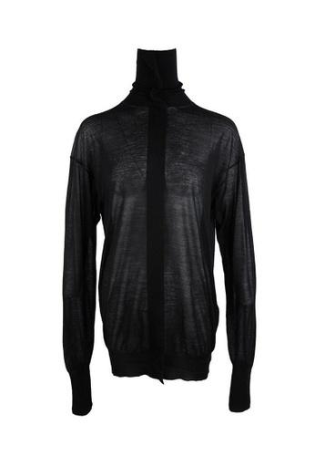Celine black Celine Dropped Shoulder Cashmere Sweater in Black F08BCAAEC5BF0EGS_1