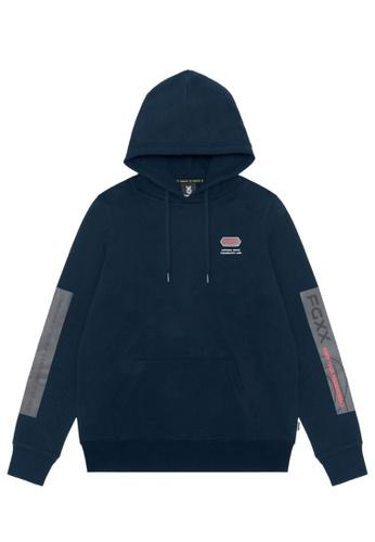 Fingercroxx navy Taped sleeve hoodie 439D5AA73995B3GS_1