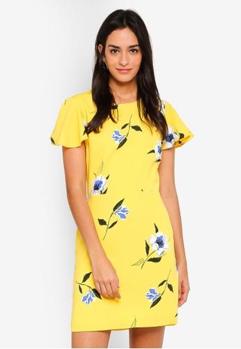 WAREHOUSE yellow and multi Buttercup Printed Dress 230E2AA26C8DE8GS_1