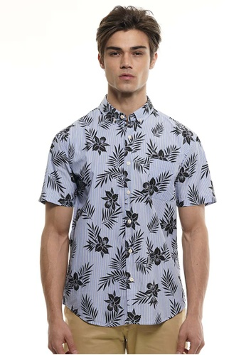 Private Stitch blue Private Stitch Men Casual Short Sleeve Slim Fit Cotton Floral Shirt 3629EAA349DC8BGS_1