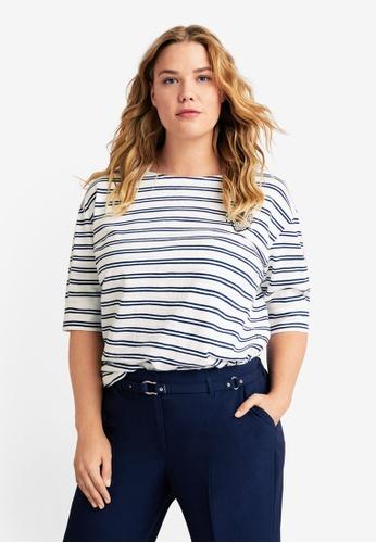 Violeta by MANGO white Plus Size Beaded Striped T-Shirt 19F0CAA8CE0DD5GS_1