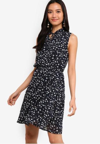 ZALORA 多色 and 海軍藍色 Sleeveless Chiffon Dress 0A2A3AA177104DGS_1