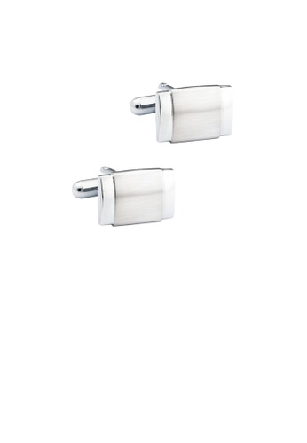Glamorousky silver Fashion Simple Brushed Geometric Square Cufflinks A4DC9AC5C7CD7CGS_1