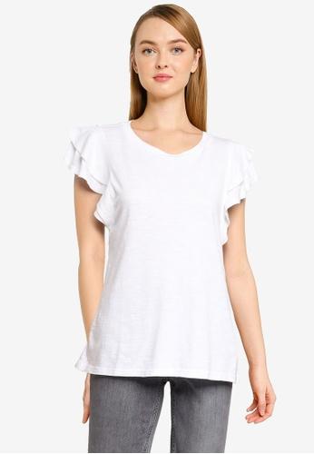 GAP 白色 荷葉飾Sleeves T-襯衫 A7DE2AA80ED390GS_1